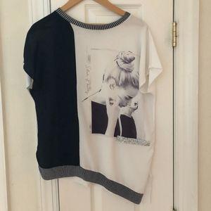Zara Asymmetrical hem Graphic Shirt